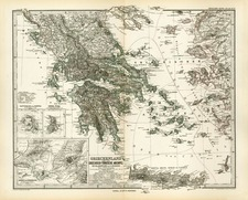 Europe and Greece Map By Adolf Stieler