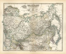 Europe, Russia, Asia, China, Central Asia & Caucasus and Russia in Asia Map By Adolf Stieler