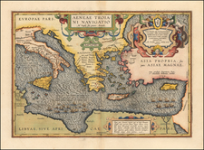 Italy, Greece, Turkey, Mediterranean, Balearic Islands and Turkey & Asia Minor Map By Abraham Ortelius