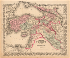 Central Asia & Caucasus and Turkey & Asia Minor Map By Joseph Hutchins Colton