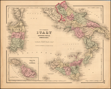 Italy, Southern Italy, Mediterranean and Balearic Islands Map By Joseph Hutchins Colton