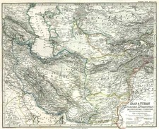 Asia, Central Asia & Caucasus and Middle East Map By Adolf Stieler