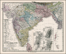 Asia, India, Southeast Asia and Central Asia & Caucasus Map By Adolf Stieler