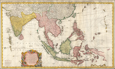 Indian Ocean, India and Southeast Asia Map By Homann Heirs