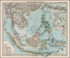 Asia and Southeast Asia Map By Adolf Stieler