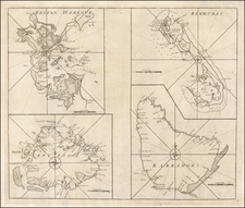 Massachusetts, Caribbean and Bermuda Map By John Senex / Edmund Halley / Nathaniel Cutler / Samuel Parker