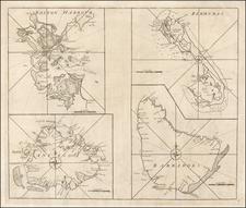 Massachusetts, Caribbean and Bermuda Map By John Senex / Edmund Halley / Nathaniel Cutler / Samuel Parker