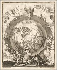 Cumnecdum Stella Haec extorts suiset Olympo… [Northern Celestial and Terrestrial Hemispheres] By Heinrich Scherer