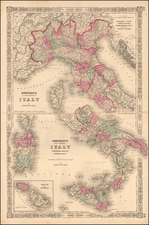 Johnson's  Italy. Venetia, Kingdom of Italy, Piedmont and Lombardy, Aemilia Tuscany, the Marches & Umbria, and the States of the Church.  (Large Malta Inset) By Benjamin P Ward / Alvin Jewett Johnson