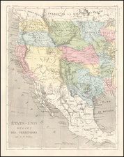 Texas, Plains, Southwest, Rocky Mountains, California and Pacific Northwest Map By Adolphe Hippolyte Dufour