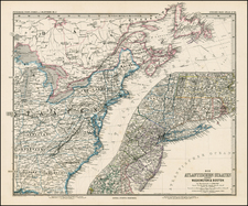 United States, Mid-Atlantic and Canada Map By Adolf Stieler