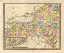 New York State Map By David Hugh Burr