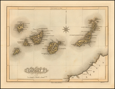 Atlantic Ocean and African Islands, including Madagascar Map By Fielding Lucas Jr.