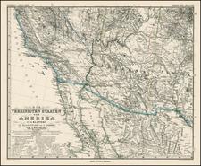 Southwest, Arizona, Baja California and California Map By Adolf Stieler