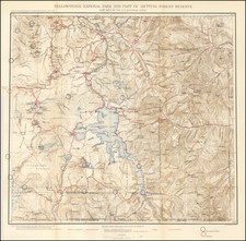 Idaho and Wyoming Map By Julius Bien / United States Bureau of Topographical Engineers