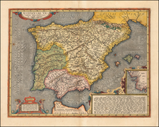 Spain and Portugal Map By Abraham Ortelius