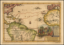 Atlantic Ocean, Caribbean and South America Map By Pieter van der Aa