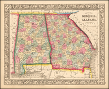County Map of Georgia and Alabama By Samuel Augustus Mitchell Jr.