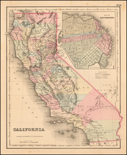 California and San Francisco & Bay Area Map By Joseph Hutchins Colton