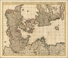 Germany, Sweden and Denmark Map By Gerard & Leonard Valk
