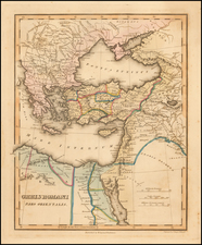 Greece, Turkey, Middle East and Turkey & Asia Minor Map By Fielding Lucas Jr.