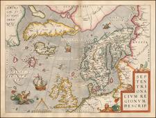 Atlantic Ocean, British Isles and Scandinavia Map By Abraham Ortelius