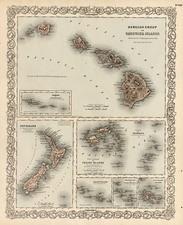 Australia & Oceania, New Zealand and Hawaii Map By Joseph Hutchins Colton