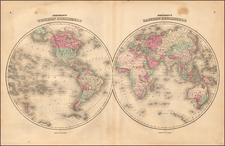 World and World Map By Benjamin P Ward / Alvin Jewett Johnson