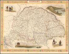 Hungary, Romania and Balkans Map By John Tallis