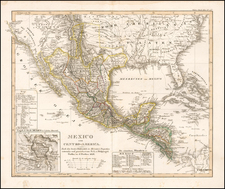 Texas, Southwest, Rocky Mountains, Mexico and California Map By Adolf Stieler