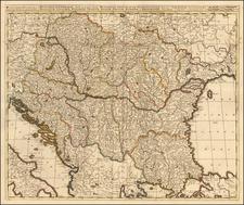 Hungary, Romania, Balkans, Croatia & Slovenia, Bosnia & Herzegovina, Serbia and Albania, Kosovo, Macedonia Map By Gerard & Leonard Valk