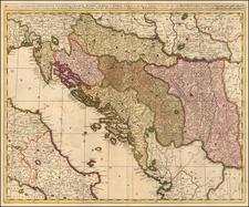 Balkans, Croatia & Slovenia, Bosnia & Herzegovina, Serbia and Albania, Kosovo, Macedonia Map By Gerard & Leonard Valk