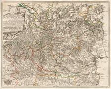 Switzerland and Northern Italy Map By Nicolas de Fer
