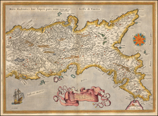 Southern Italy Map By Abraham Ortelius
