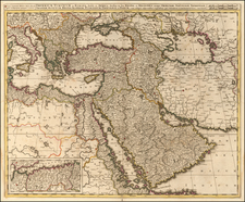 Turkey, Middle East, Arabian Peninsula and Turkey & Asia Minor Map By Gerard & Leonard Valk