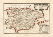 Spain and Portugal Map By Nicolas de Fer