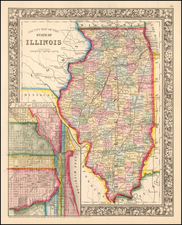 Illinois Map By Samuel Augustus Mitchell Jr.
