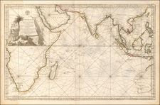Indian Ocean, India, Southeast Asia, Other Islands, Central Asia & Caucasus, Middle East, South Africa, West Africa and Australia Map By Jacques Nicolas Bellin