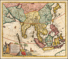 India, Southeast Asia, Philippines and Indonesia Map By Pieter van der Aa