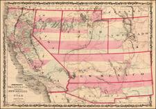Arizona, Colorado, Utah, Nevada, New Mexico, Colorado, Utah and California Map By Alvin Jewett Johnson  &  Benjamin P Ward