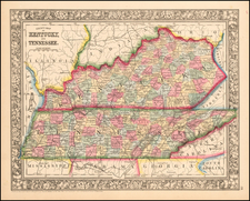 Southeast Map By Samuel Augustus Mitchell Jr.