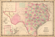Johnson's New Map of the State of Texas By Benjamin P Ward  &  Alvin Jewett Johnson