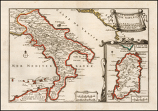 Southern Italy and Sardinia Map By Nicolas de Fer