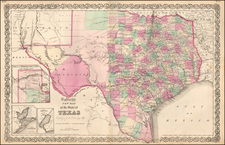 Texas and Southwest Map By Joseph Hutchins Colton