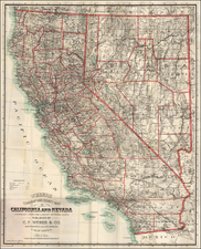 Nevada and California Map By C.F. Weber Co.
