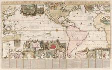 World, Atlantic Ocean, Pacific Ocean, North America, South America, Philippines, Africa, Australia and America Map By Nicolas de Fer