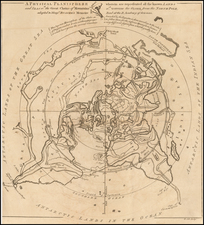 World and Polar Maps Map By Gentleman's Magazine