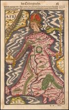 Europe and Comic & Anthropomorphic Map By Sebastian Munster
