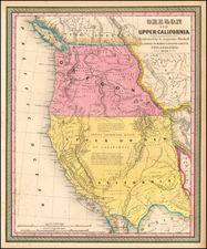 Southwest, Rocky Mountains, Pacific Northwest and California Map By Samuel Augustus Mitchell