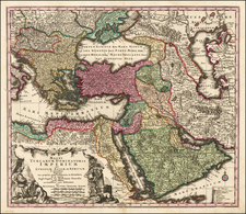 Turkey, Mediterranean, Middle East and Turkey & Asia Minor Map By Matthaus Seutter